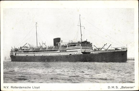 Ak Passagierschiff, DMS Baloeran, KRL, Ansicht Steuerbord