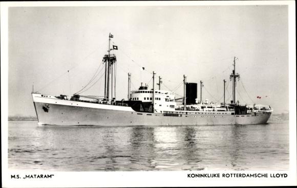 Ak Frachtschiff, MS Mataram, KRL, Ansicht Backbord