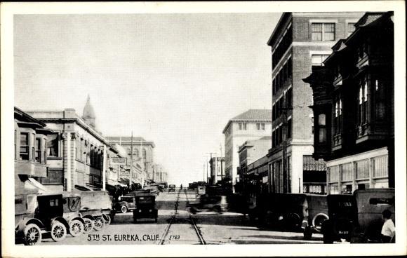 Ak Eureka Kalifornien USA, View of the 5th Street