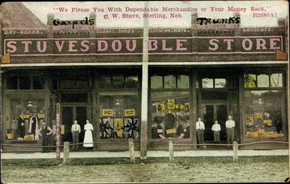 Ak Sterling Nebraska USA, Stuves Double Store, Prop. C. W. Stuve