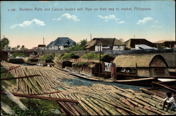 Ak Philippinen, Bamboo Rafts and Cascos loaded with Nipa on their Way to Market
