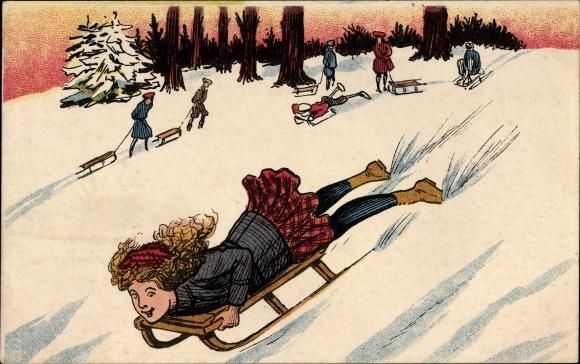 Künstler Ak Mädchen auf einem Schlitten, Winterszene im Wald