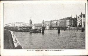 Ak Szczecin Stettin Pommern, Hafenpartie mit Blick auf die neue Hansabrücke