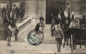 Ak Paris, Besuch von König Alfons XIII. von Spanien, Alfonso XIII., Louis Lépine, Empfang