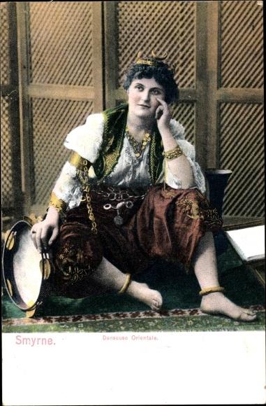 Ak Smyrna Izmir Türkei, Danseuse orientale, Türkische Tänzerin, Tamburin