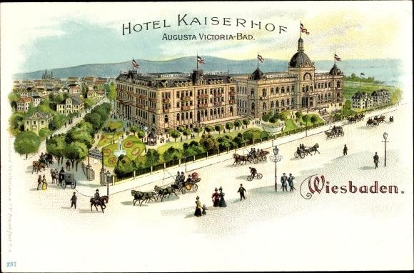 Litho Wiesbaden In Hessen  Hotel Kaiserhof  Augusta