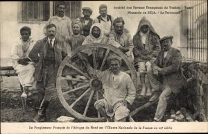 Ak Tunis Tunesien, Societe des Fermes Francaises, Minoterie de BEJA, Le Personnel, Tunes. Arbeiter