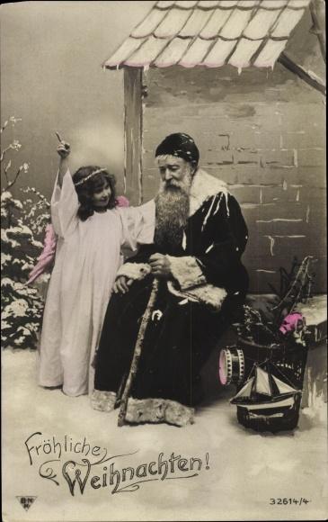Ak Frohe Weihnachten, Weihnachtsmann, Engel, BNK 32614/4