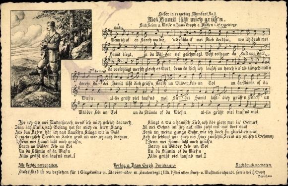 Lied Ak Soph, Hans, Mei Hamit läßt mich grüß'n, Mundart Nr 1
