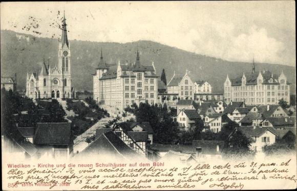 Ak Wiedikon Zürich Stadt Schweiz, Blick auf Kirche und die neuen Schulhäuser auf dem Bühl