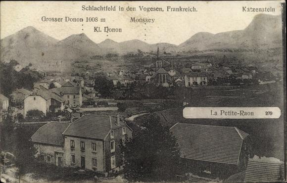 Ak La Petite Raon Lothringen Vosges, Vue sur la Ville, Großer Donon, Moussey, Katzenstein