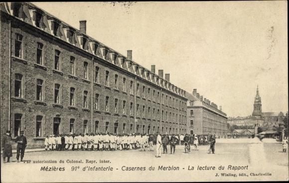 Ak Charleville Mézières Ardennes, 91e d'Infanterie, Casernes du Merbion, la Lecture du Rapport