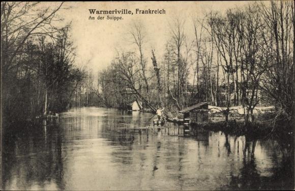 Ak Warmeriville Marne, Wasserpartie an der Suippe