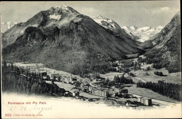 Ak Pontresina Kt. Graubünden Schweiz, Blick auf die Ortschaft und Piz Palü