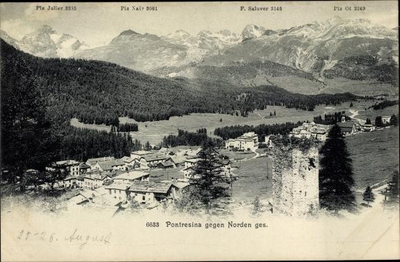 Ak Pontresina Kt. Graubünden Schweiz, Teilansicht von der Ortschaft, Piz Julier, Piz Nair, Piz Ot
