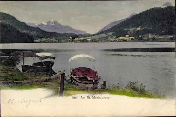 Ak Kt. Graubünden Schweiz, Partie am Moritzer See