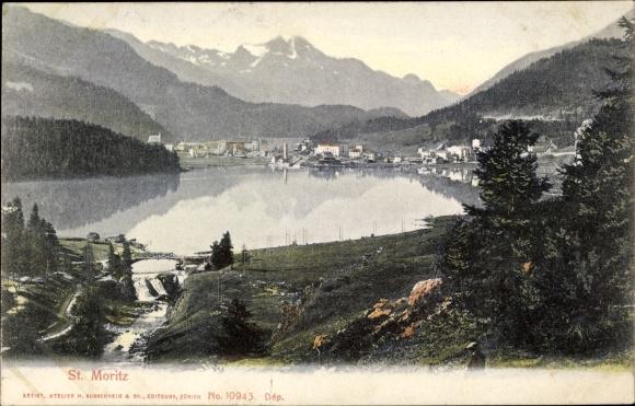 Ak St. Moritz Kt. Graubünden Schweiz, Blick auf Ortschaft und Umgebung