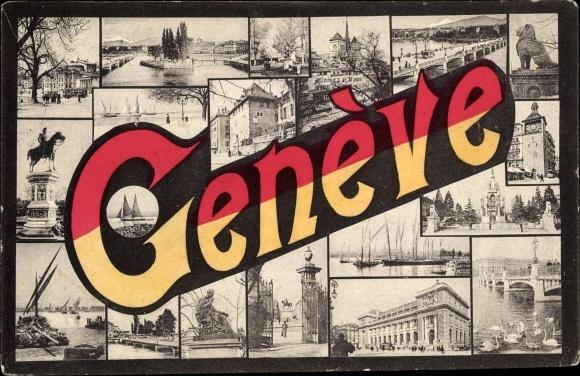 Buchstaben Ak Genève Genf Stadt Kt. Genf Schweiz, Wahrzeichen der Stadt