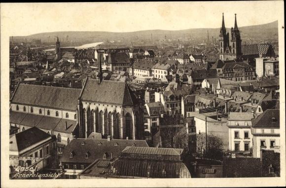 Ak Basel Schweiz, Totalansicht von der Stadt über den Häuserdächern