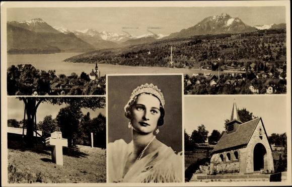 Ak Küssnacht Kt. Schwyz Schweiz, Panorama, Königin Astrid von Belgien Gedächtniskapelle