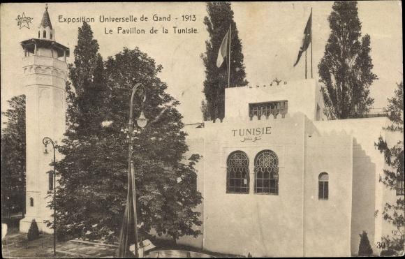 Ak Gent Ostflandern, Exposition Universelle 1913, Le Pavillon de la Tunisie