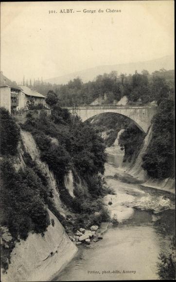 Ak Alby sur Chéran Haute Savoie, Gorge du Chéran, Brücke