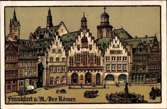 Steindruck Ak Frankfurt am Main, Der Römer, Brunnen