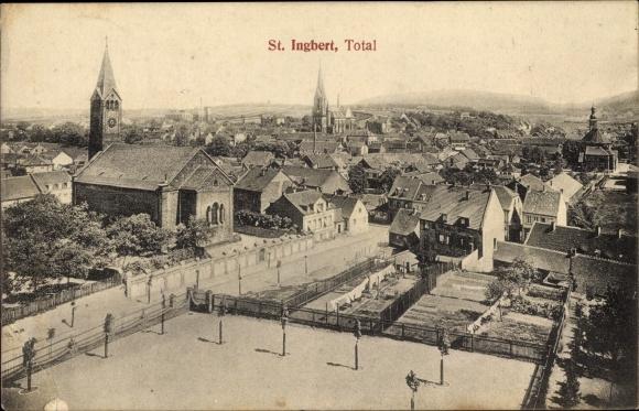 Ak St. Ingbert im Saarpfalz Kreis, Totalansicht vom Ort, Platz