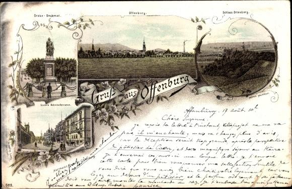 Vorläufer Litho Offenburg, Schloss Ortenberg, Drake Denkmal, Bahnhofstraße