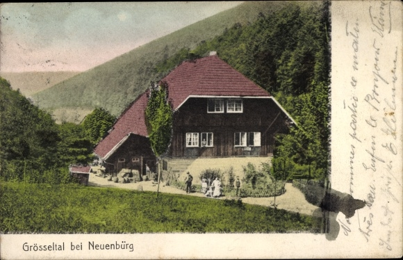 Ak Neuenbürg Enzkreis Baden Württemberg, Grösseltal, Schwarzwaldhaus