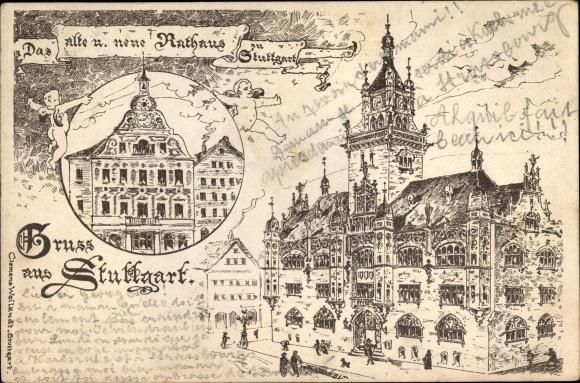 Litho Stuttgart in Baden Württemberg, Das alte und neue Rathaus