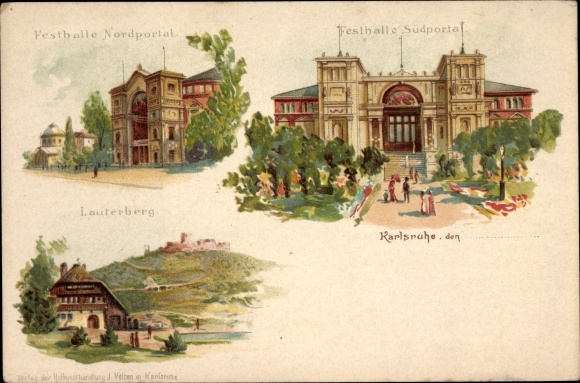 Litho Karlsruhe in Baden Württemberg, Festhalle, Nordportal, Südportal, Lauterberg