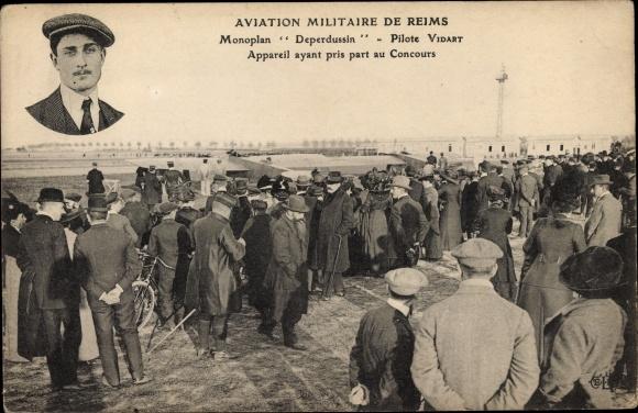 Ak Aviation Militaire de Reims, Monoplan Deperdussin, Pilote Vidart, Flugpionier