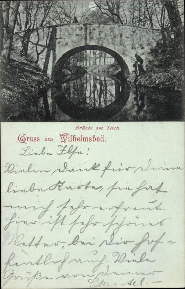 Mondschein Ak Wilhelmsbad Hanau im Main Kinzig Kreis Hessen, Brücke am Teich