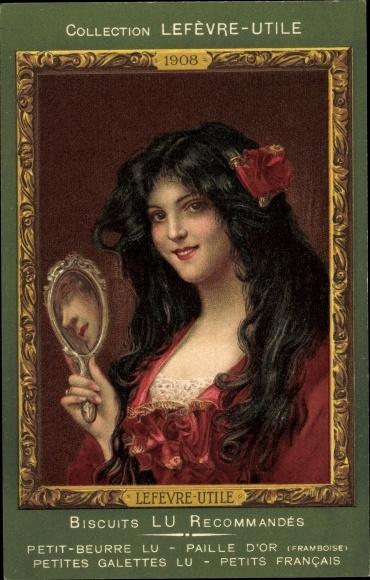 Künstler Ak Collection Lefèvre Utile, Biscuits LU, Frauenportrait