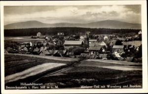 Ak Benneckenstein Oberharz am Brocken, Mittlerer Teil mit Wurmberg und Brocken