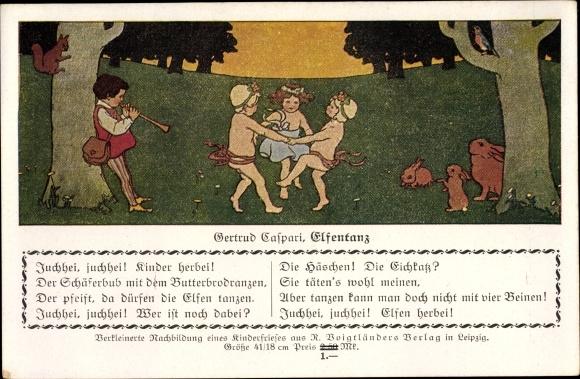 Künstler Ak Caspari, Gertrud, Elfentanz, Kinder, Hasen, Eichhörnchen,Flötenspiel