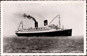 Ak Le Havre Seine Maritime, Paquebot Il de France, Passagierschiff, CGT