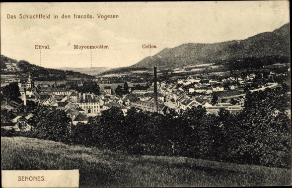 Ak Senones Lothringen Vosges, Vue sur la Ville, Etival, Moyenmoutier, Celles