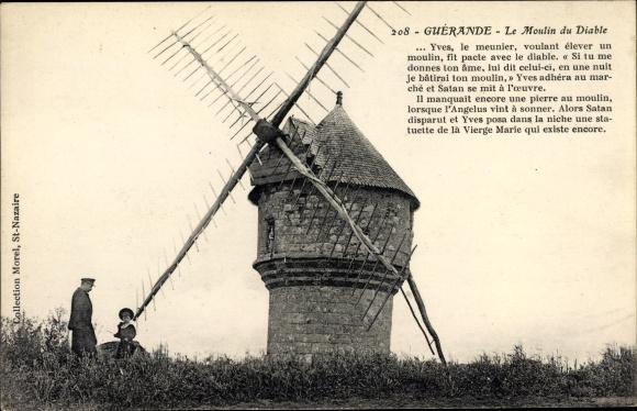 Ak Guérande Loire Atlantique, Le Moulin du Diable, Windmühle
