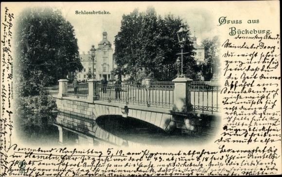 Ak Bückeburg im Kreis Schaumburg, Partie an der Schlossbrücke