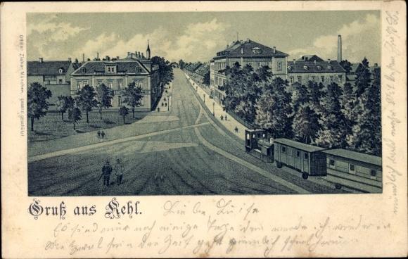 Litho Kehl am Rhein Baden Württemberg, Eisenbahnstrecke auf einer Straße, Lokomotive, Waggons