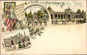 Litho Nürnberg in Mittelfranken Bayern, Bayerische Landesausstellung 1896, Armee Museum, Kolonnade