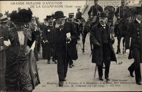 Ak Grande Semaine d'Aviation de la Champagne, Août 1909, Fallières, Millerand