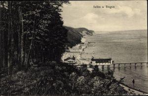 Ak Ostseebad Sellin auf Rügen, Blick aufs Meer und den Strand
