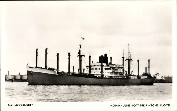 Ak Frachtschiff, SS Overijsel, KRL, Ansicht Backbord