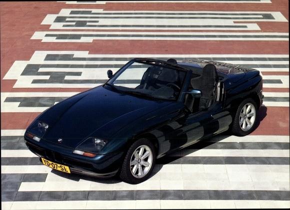 Ak BMW Z1, Dunkelblauer Sportwagen, Cabriolet, Kennzeichen YD 07 SL, Auto Week