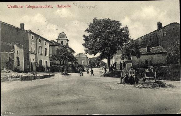 Ak Halloville Lothringen Meurthe et Moselle, Vue sur la Rue, Straßenpartie, Kriegszerstörungen