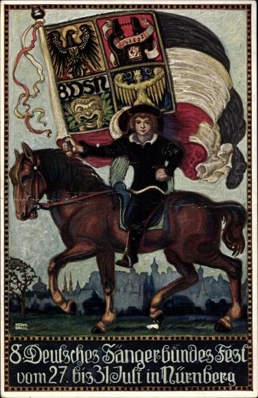 Künstler Ak Gradl, Herm., Nürnberg in Mittelfranken Bayern, 8. Deutsches Sängerbundesfest 1912