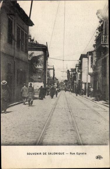 Ak Thessaloniki Griechenland, Rue Egnatia, Straßenpartie, Passanten